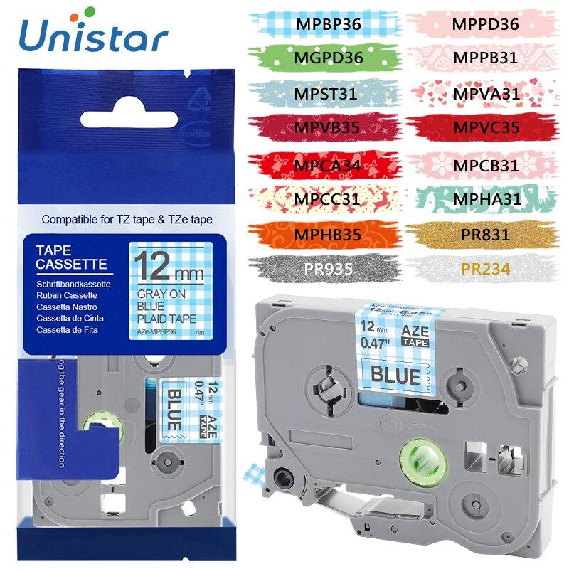 Unistar tze bande motif pour Brother p-touch imprimantes Tze231 Tze-231 12mm pour Brother p touch Tze PT étiqueteuse tz231 tze 231