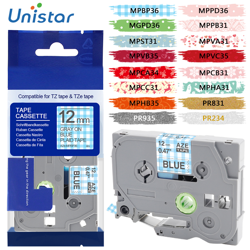 Unistar Tze Tape Pattern For Brother P-touch Printers Tze231 Tze-231 12mm For Brother P Touch Tze PT Labeler Tz231 Tze 231