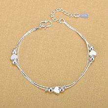 Tornozeleiras de prata 925 moda prata jóias corrente tornozeleira para mulheres meninas amigo pé descalço sandálias praia perna jóias sle105