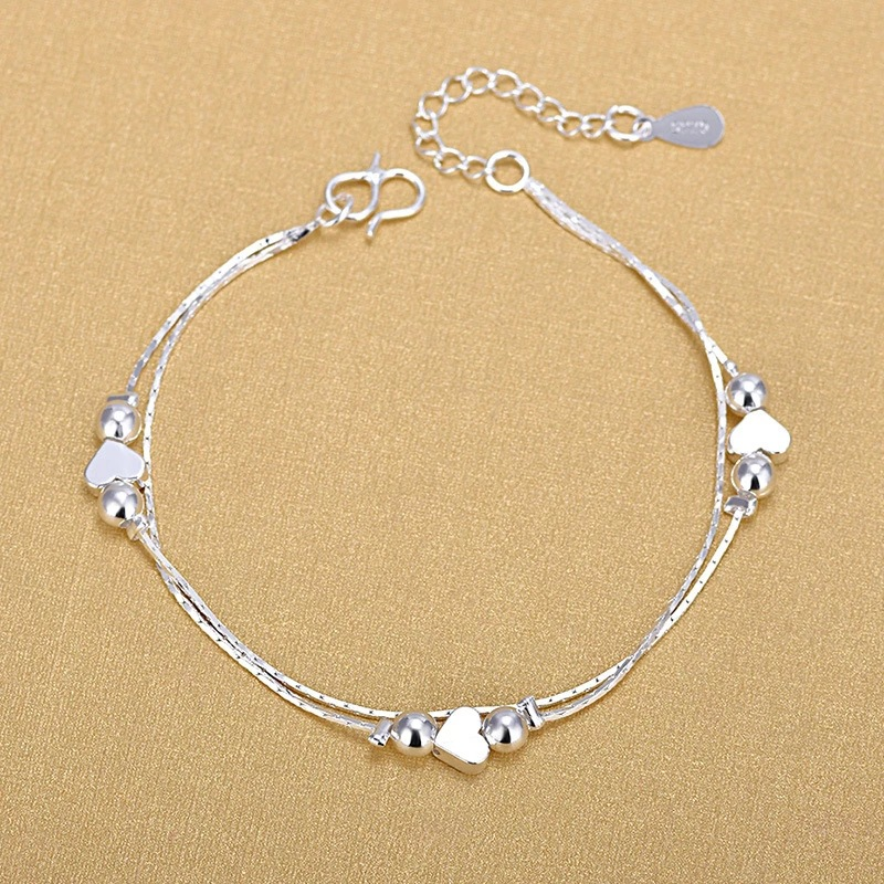 Silver Anklets 925 Fashion Silver Jewelry Chain Anklet for Women Girls Friend Foot Barefoot Sandals Beach Leg Jewelry SLE105