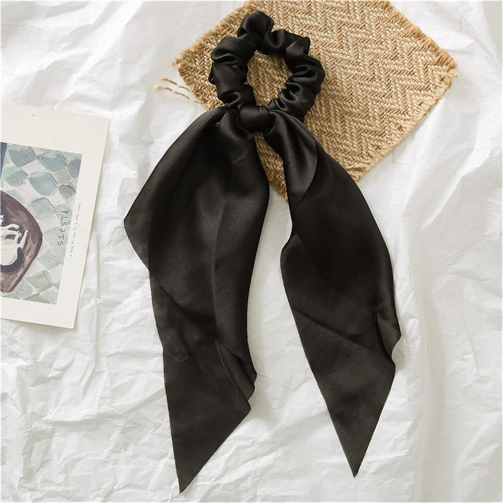 Летние Стильные многоцветные женские головные уборы тюрбан DIY лук стримеры резинки для волос конский хвост галстуки твердые головной убор - Цвет: Black