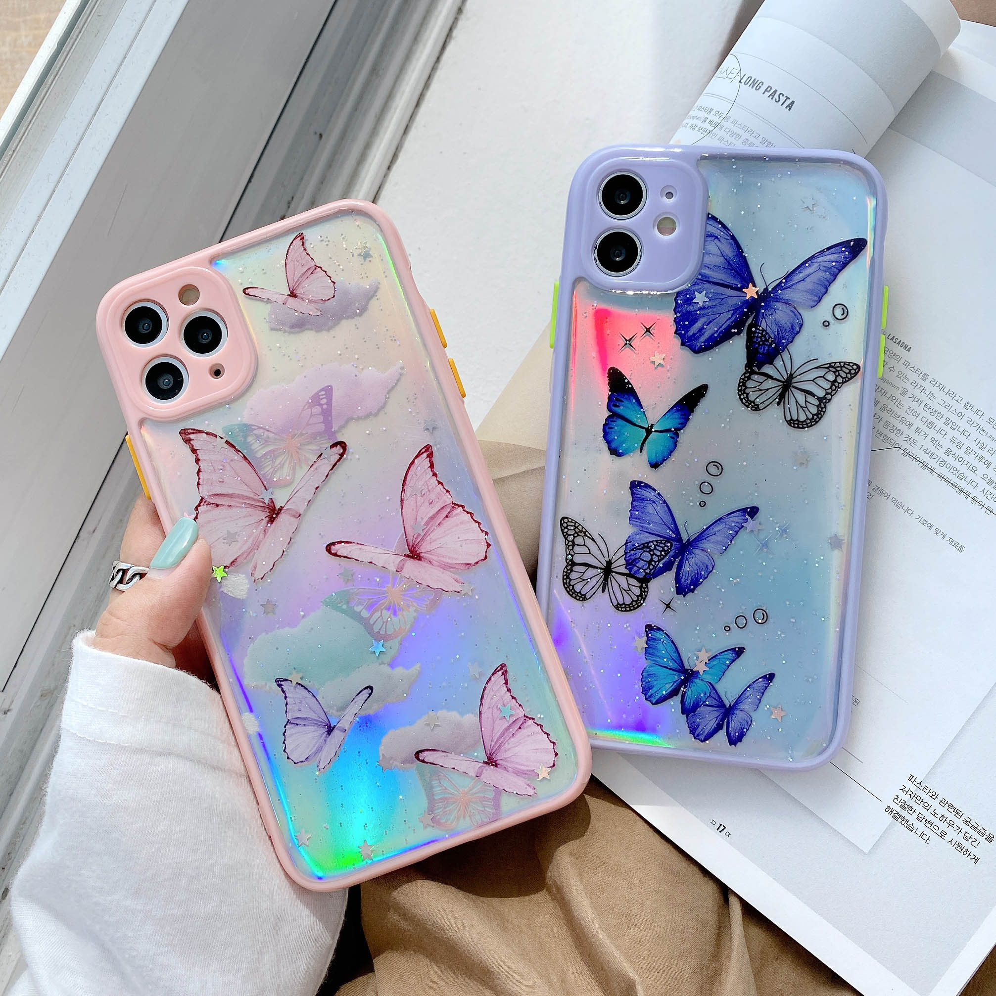 3D Butterfly Laser Bumper Phone Case For iphone 11 Pro Max 7 7Plus 8 8Plus SE 2 X XR XS Max Fashion Transparent Clear Soft Cover
