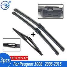Стеклоочистителей лобового стекла для Peugeot 3008 2008-2015 спереди и сзади стеклоочиститель лобового стекла 2014 2013 2012 2011 2010 2009 30 ''+ 28'' + 12
