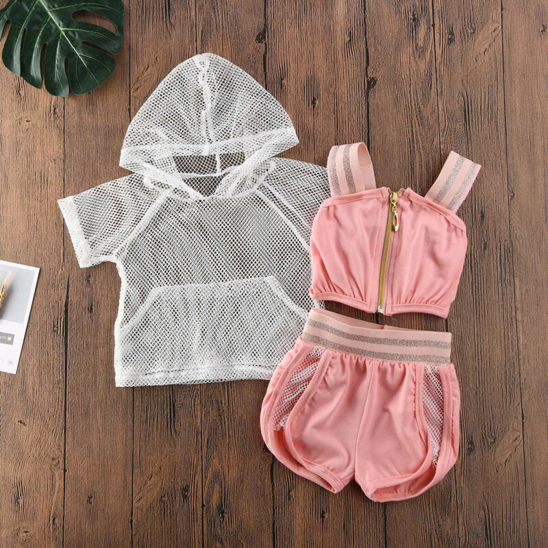 CANIS 3Pcs Summer Kids Baby Girls Mesh See Through Fashion Sexy Hoodies Strap Camis Shorts Outfits Tracksuit