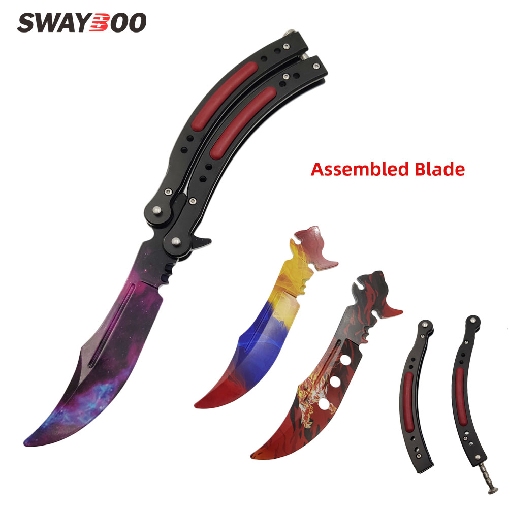 Swayboo Disassembly CS GO Karambit Folding Knife Butterfly Fade Butterfly In Knife Blade Training No Edge  Practice Tool