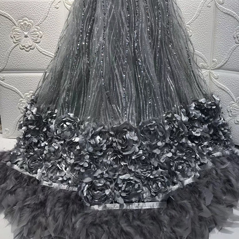 2020 Wonderful Beautiful African Lace Fabric Solid Flower Feather Tulle French Lace Fabric For Lady Evening Dress 5 Yards\Lot