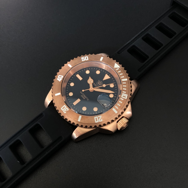 Automatic Mechanical Watches Diving  Germany CUSN8 Sapphire Crystal C3 Luminous Diving Watch NH35 Vintage Bronze Men's Watch