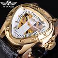 Winner золотые мужские механические Спортивные часы Мужские автоматические Cobra треугольный циферблат кожаный ремешок Часы Relogio Masculino Reloj часы