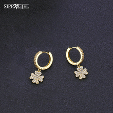 Pendant-Earrings Gold Cubic-Zirconia Women Jewelry New-Fashion Classic Plant for Mosaic