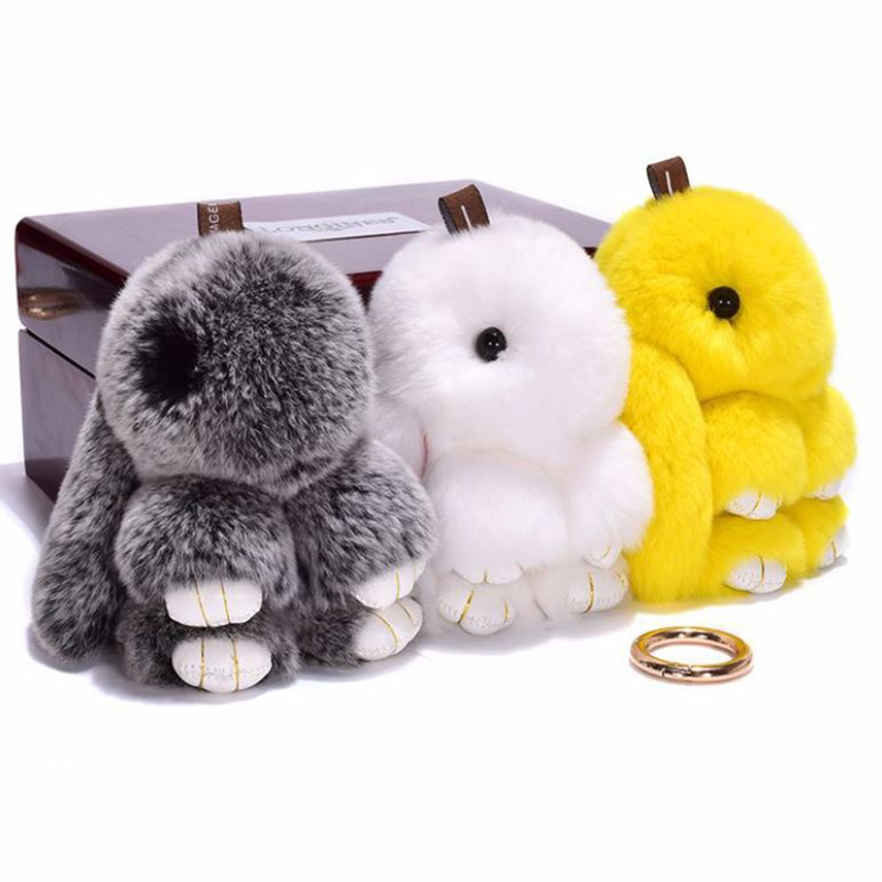 14CM Hot Rabbit Fur Keychain Bunny Rabbit Fur Fashion Keychain Bunny Toy Rabbit Keychain Tote Car Charm Pendant Toy For Children