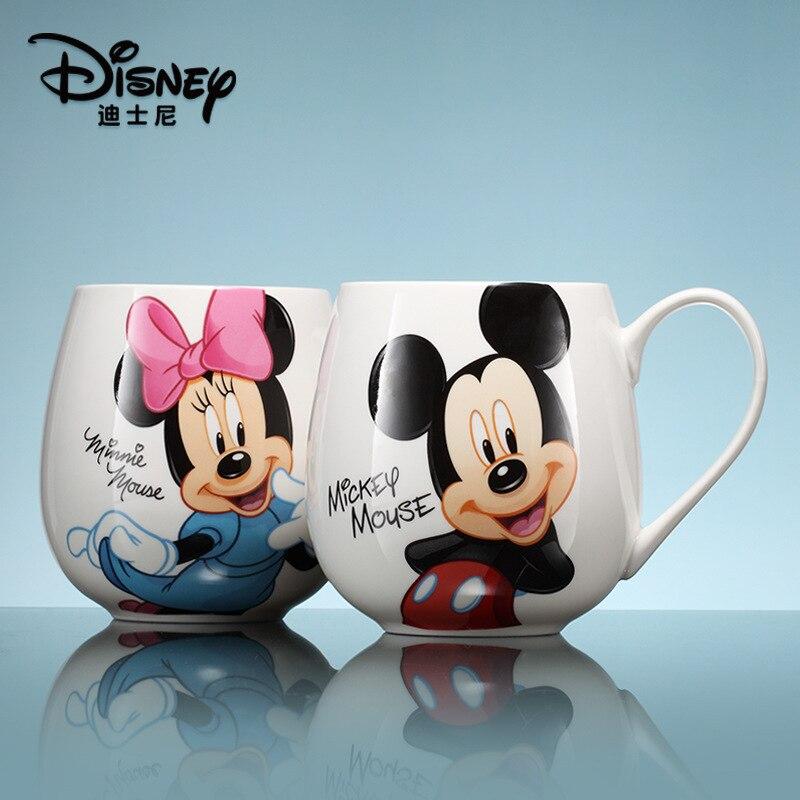 Disney 300ML dessin animé Mickey Minnie tasse tasses en céramique garçons filles maternelle bouteille petit déjeuner tasse enfants cadeau