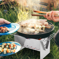 Wood burning stove outdoor portable folding stainless steecooking stove with grill plate and bellow for  camping