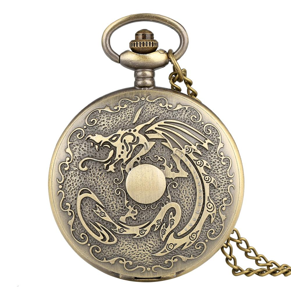 Antique Chinese Design Bronze Quartz Pocket Watch With Chain Bronze Necklace Vintage Necklaces Best Gift Relogio De Bolso