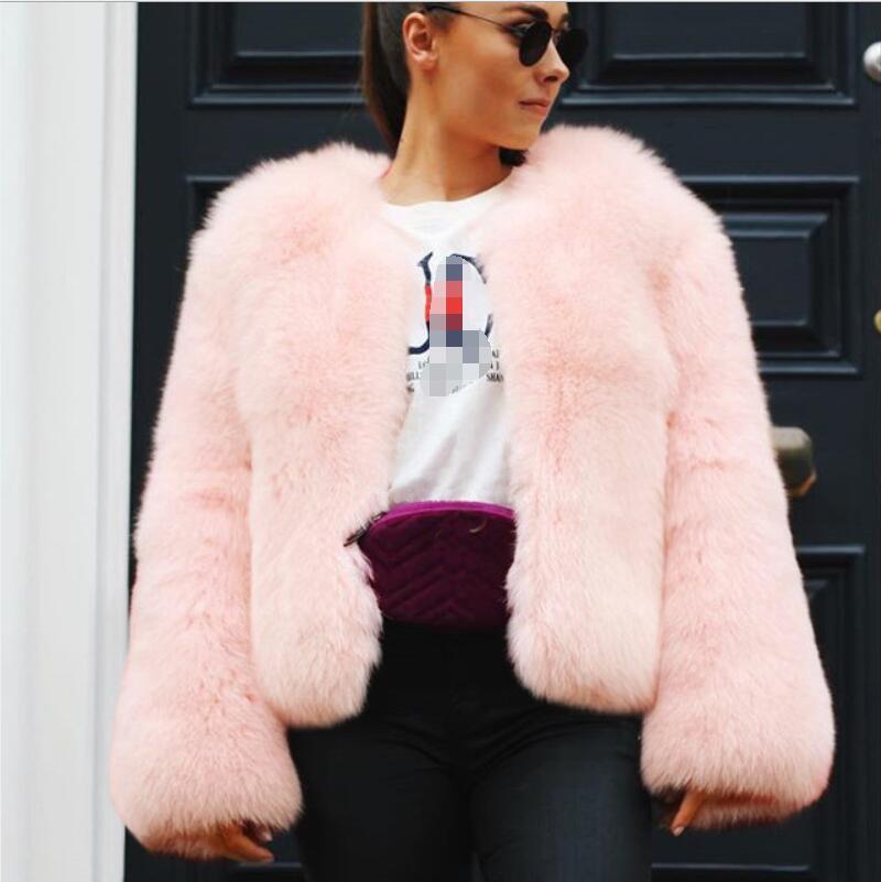Womens Clothing 2019 Fall/Winter Popular Faux Fur Jacket Short Round Neck Fashion New Long Sleeve Fluffy Faux Fur Coat