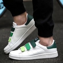 2018 New Style Velcro Low Top Pu Couples Skate Shoes Korean-