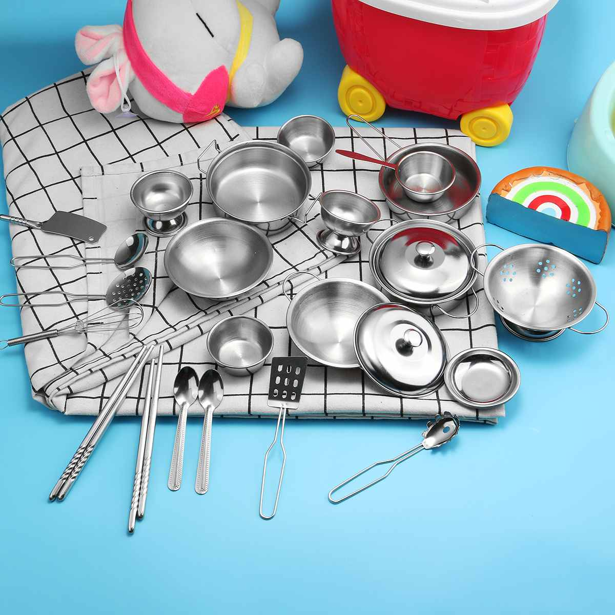25PCS/Set Stainless Steel Cooking Toys Set Pretend Cookware Set For Little Chef Play House Kitchen Toys For Boys Or Girl Gifts
