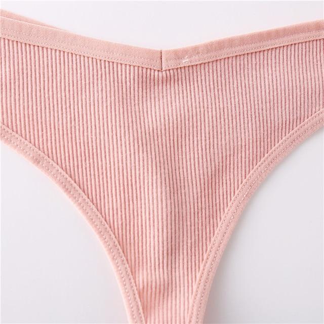Cotton Thongs Women Sexy V Waist G-String Comfortable Striped Thong Panties Women T-back Underpants M-XL Female Bikini 4