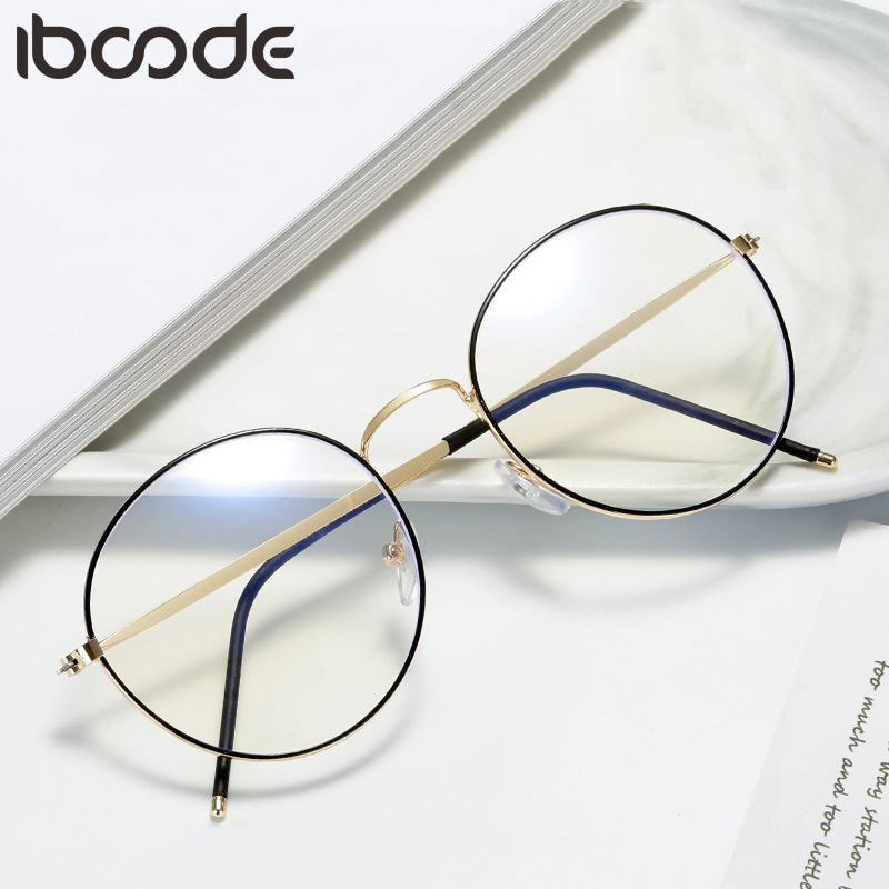 Iboode Retro Round Metal Glasses Frame Anti Blue Light Women Men Clear Lens Eyeglasses Frames Myopia Optical Spectacles Eyewear