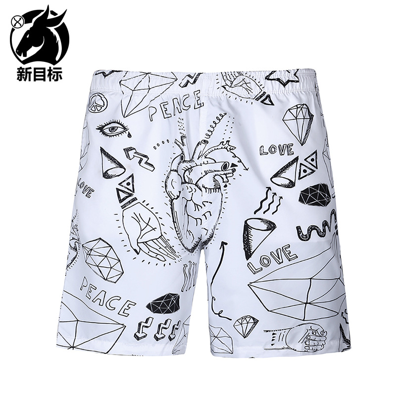 Foreign Trade Hot Selling 2019 Spring And Summer New Style Beach Shorts Popular Brand Men'S Wear 3D Abstract Printed Swimming Tr