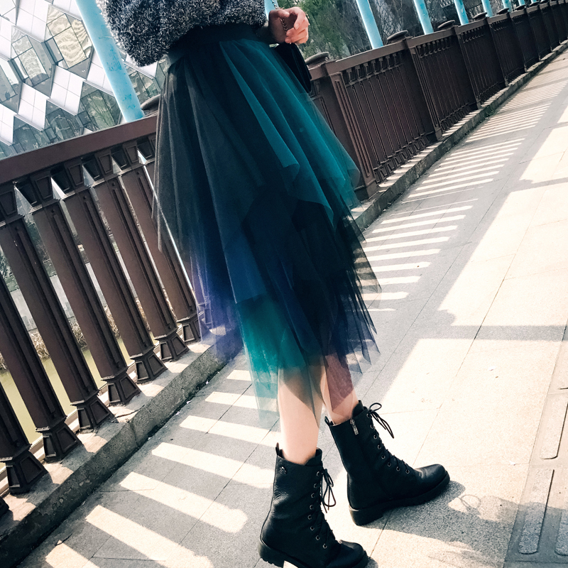 Skirts Womens Tulle 2020 Fashion Elastic High Waist Mesh Tutu Maxi Skirt Pleated Long Skirts Midi Skirt Saias Faldas Jupe Femme