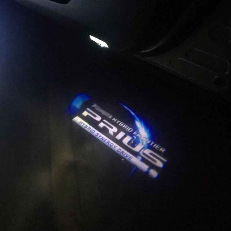 4 pçs carro luz de boas-vindas para toyota prius led emblema projetor lâmpadas luzes da porta do carro auto fantasma atmosfera decoração luz gadgets