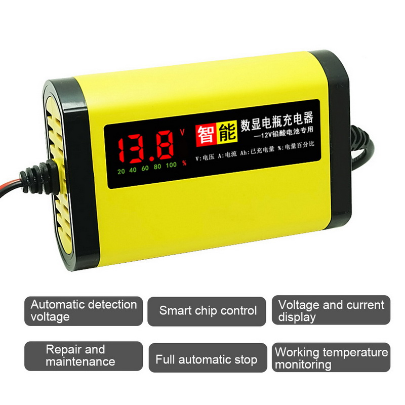 12V 2A C1202 06 Car Battery Charger Power Pulse Repair Chargers Wet Dry Lead Acid Automatic Battery-chargers Digital LCD Display
