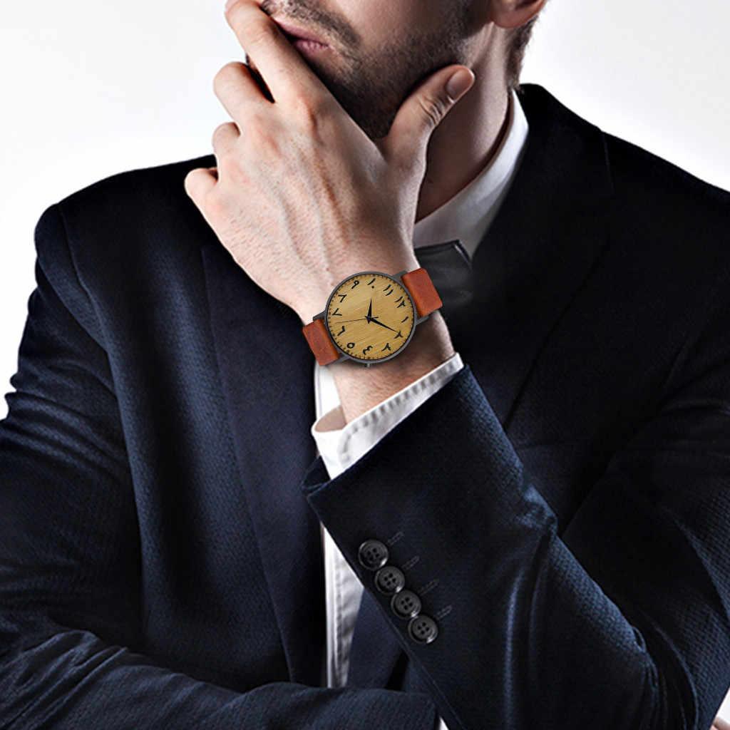 Reloj de moda informal de cuero para Hombre con estampado Simple Reloj de Hombre de lujo de marca superior 2019
