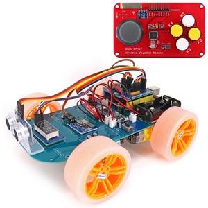 Image 1 - 4WD Draadloze Joystick Afstandsbediening Rubber Wiel Gear Motor Smart Car Kit Met Tutorial Voor Arduino Uno R3 Nano Mega2560