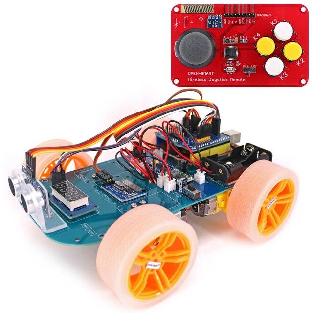 4WD Draadloze Joystick Afstandsbediening Rubber Wiel Gear Motor Smart Car Kit Met Tutorial Voor Arduino Uno R3 Nano Mega2560