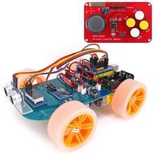 4WD Joystick Senza Fili di Controllo a Distanza di Gomma Ruota Dentata Del Motore Smart Car Kit con Tutorial per Arduino Uno R3 Nano Mega2560