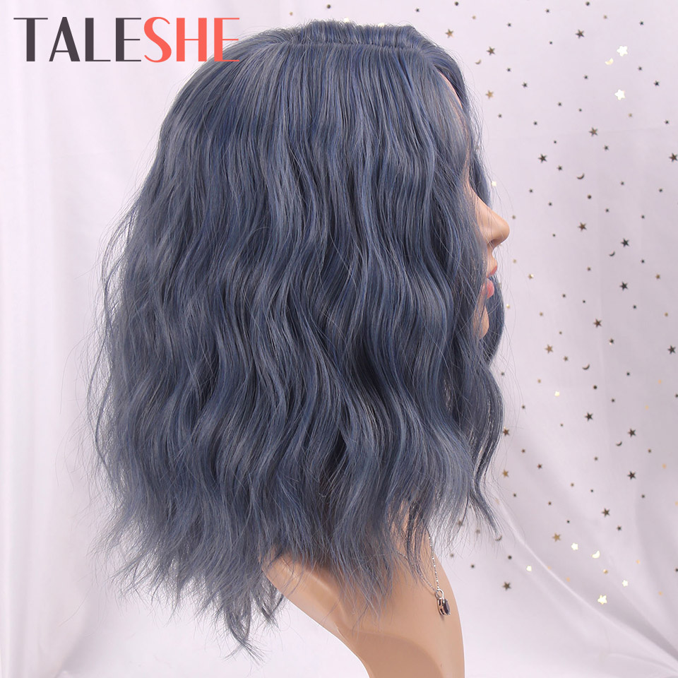 TALESHE Blue Short Wig Water Wave Mixed Color Side Part Synthetic Wigs For Black Women Blonde Pink Cosplay False Hair Party