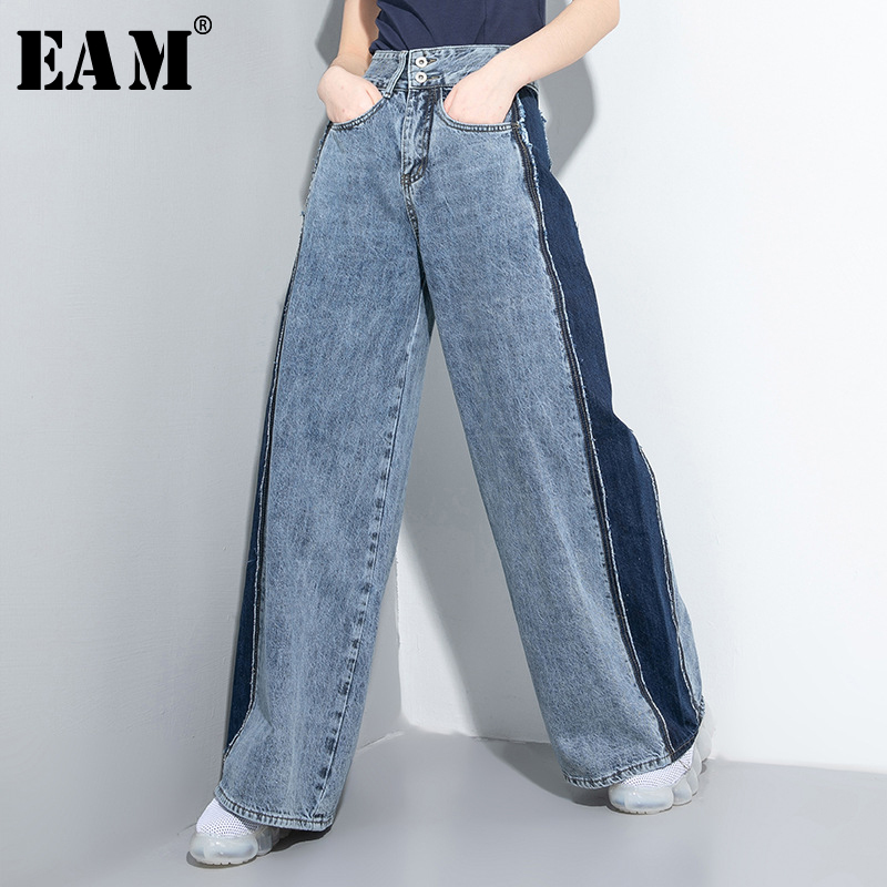 [EAM] Contrast Color Long Denim Wide Leg Jeans New High Waist Loose Women Trousers Fashion Tide Spring Autumn 2020 1U046