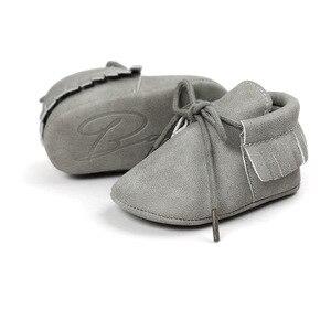 Детская обувь для новорожденного мальчика и девочки, Классическая замшевая обувь на шнуровке с кисточками, нескользящая обувь для малышей, ...