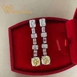 Женские серьги-капельки Wong Rain, роскошные серьги из 100% 925 пробы серебра с моиссанитом и Цитрином, оптовая продажа