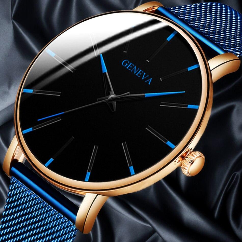 Watches Mesh Belt Stainless-steel Men's Business Men Fashion Ultra-Thin Simple Top Brand Luxury Quartz Watch Relogio Masculino