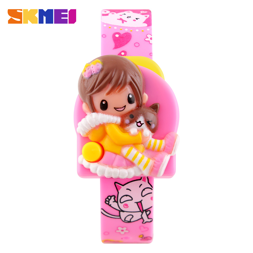 SKMEI Cute Cartoon 3D Princess Doll Dress Slicone Strap Children Digital Watch Kids Wristwatches Gift For Girls Reloj Chica