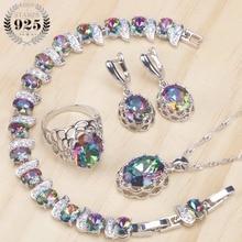 925 Sterling Silver Women Bridal Jewelry Sets Magic Rainbow Zirconia Earrings Bracelet Pendant Ring Necklace Set Gift Box