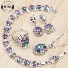 925 Sterling Zilver Vrouwen Bridal Sieraden Sets Magic Rainbow Zirconia Oorbellen Armband Hanger Ring Ketting Set Gift Box