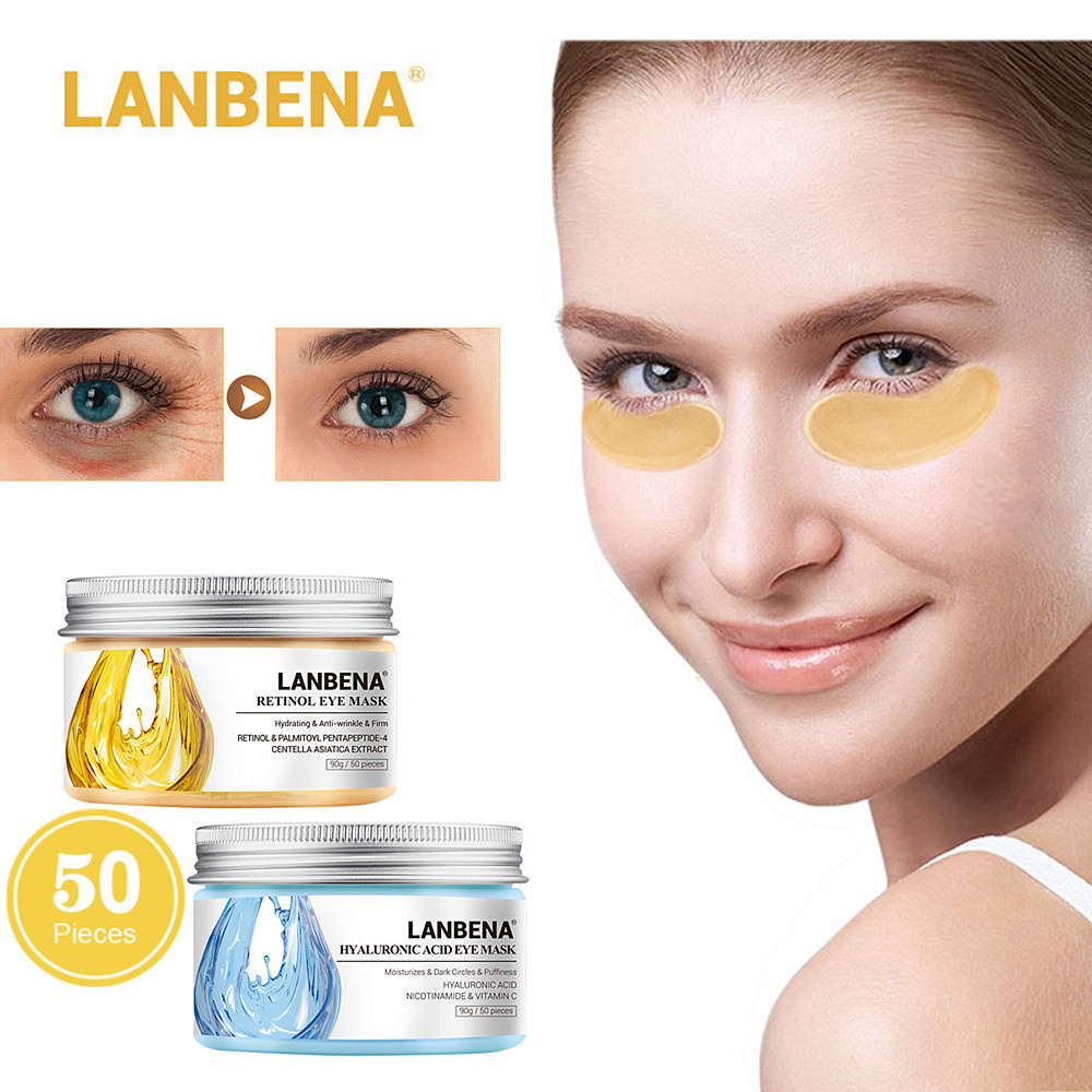 LANBENA Hyaluronic Acid Eye Mask Pads Eyes Patches Anti-Puffiness  Dark Circles Remover Soothing Firming Moisturizing Anti-Aging