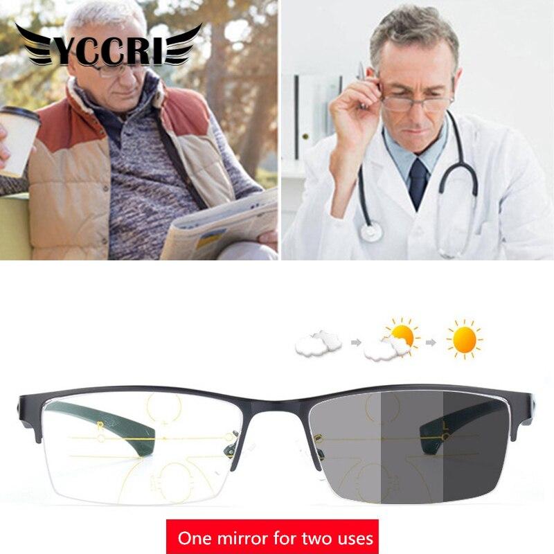Gafas de lectura para presbicia multifocales de titanio, gafas de protección UV de medio marco para hombres y mujeres, Bifocal progresivo, protección contra rayos azules