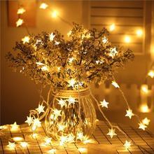 50 luzes da corda da estrela do diodo emissor de luz plug in luzes da corda de fadas à prova dwaterproof água para a festa de natal ao ar livre indoor ano novo