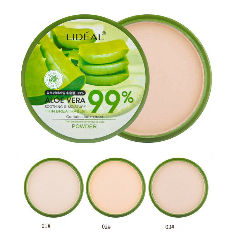 Makeup Aloe Vera Moisturizer Face Powder Smoothing Extract Pressed Powder Breathable Concealer Brighten Whitening Foundation image