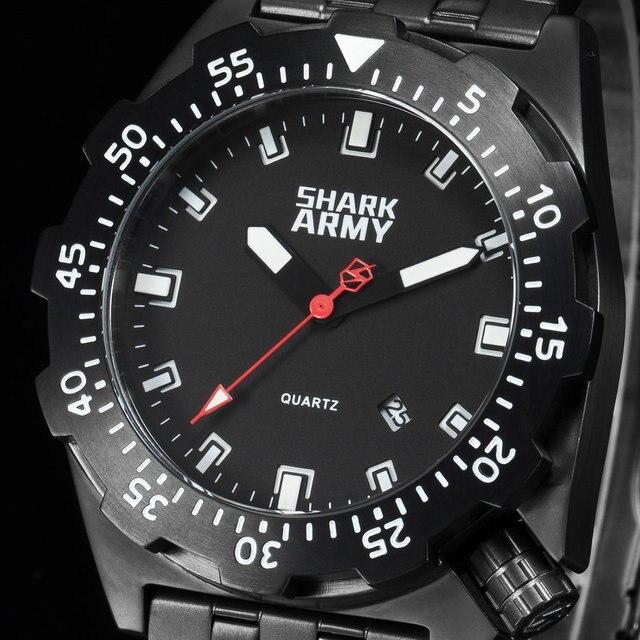 SHARK Sport Watch Men LCD Auto Date Alarm Steel Band Chronograph Dual Time Men Relogio Quartz Digital Wristwatch SAW190 | Fotoflaco.net