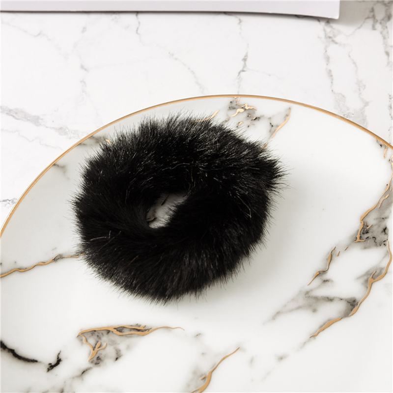 Милые эластичные резинки для волос для девочек, искусственный мех, резиновое эластичное кольцо, веревка, пушистый галстук, аксессуары для волос, меховые резинки, повязка на голову - Цвет: C1