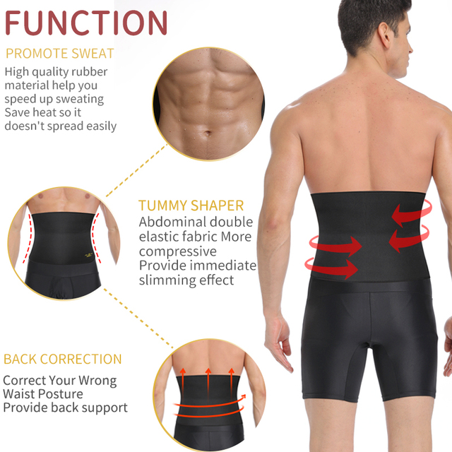 Mens Waist Trainer Slimming Body Shaper Modeling Belt Tummy Control Weight Loss Shapewear Promote Sweat Belly Slim Trimmer Belt 1