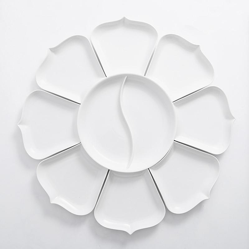 Ensembles de plats et d'assiettes en porcelaine | Vaisselle de cuisine, bol à dîner céramique porcelaine chinoise - 5