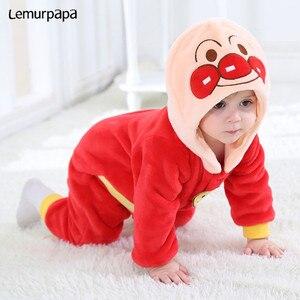 Image 4 - Inverno kawaii roupas da menina do bebê anpanmanonesie bebê recém nascido macacão de algodão do miúdo macacão infantil festa onesies macacão bonito traje