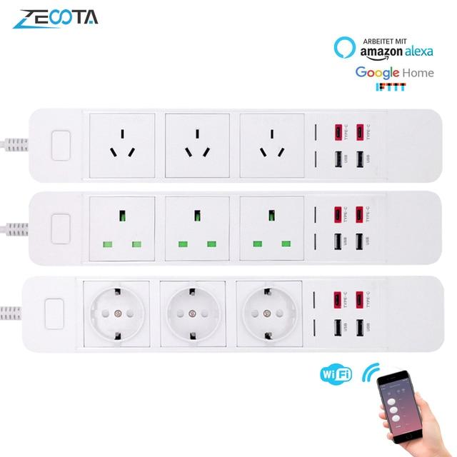 WiFi Smart Power Strip Presa di Estensione con USB Tipo c di Protezione Contro Le Sovratensioni Spina Intelligente A Distanza per Alexa Google casa