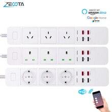 WiFi חכם כוח רצועת לשקע הארכת Socket עם USB סוג c Surge הגנה אינטליגנטי תקע מרחוק עבור Alexa Google בית