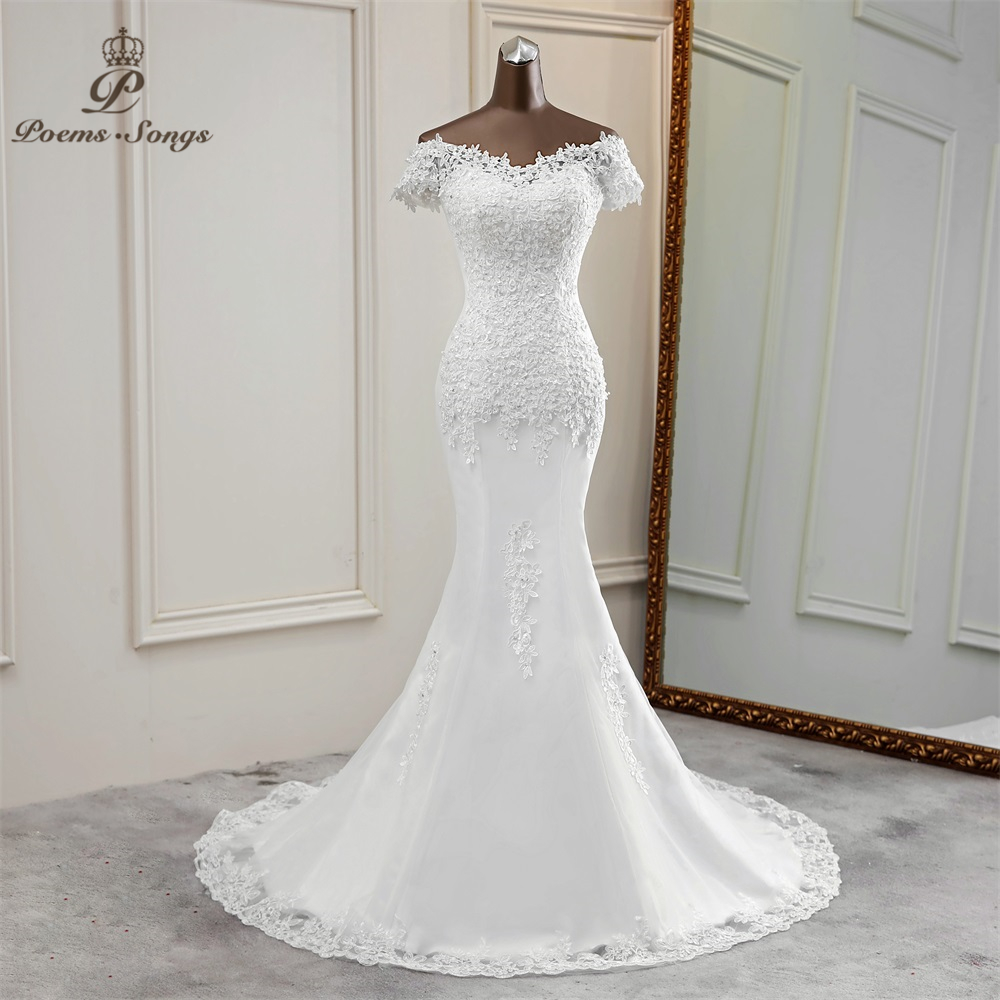 Sexy Wedding Dress Appliques Flower Robe De Mariee Elegant Bride Dress Lace Wedding Gowns Beautiful  Mermaid Bridal Gown